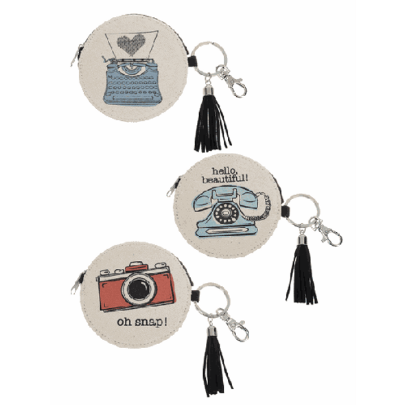 """Typewriters Coin Purse Key Rings with lobster clasp and tassel Dimensions: 4"""" Dia. x 1/2"""" D.  Sold individually."""