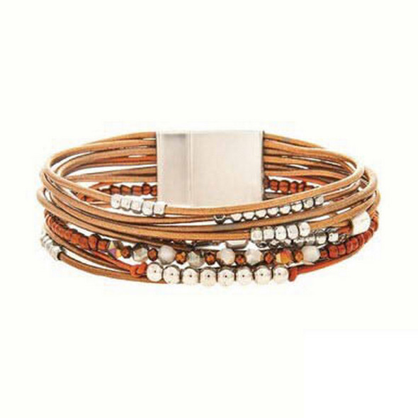 Silver Ball Bead Faceted Brown Bead Brown Leather Style Strappy Magnetic Closure Bracelet
