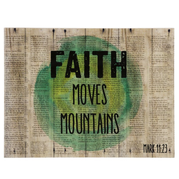 "Faith Moves Mountains Bible Art - Wall Plaque Approx 12""w x 9""h"
