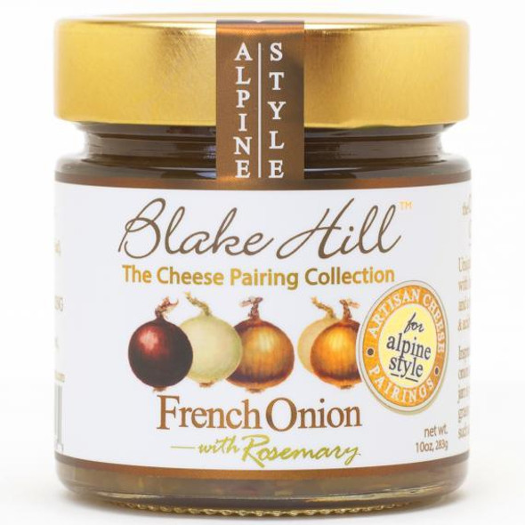 A Wonderful and savory onion jam. Onions cooked with brown sugar, port, olive oil, rosemary, thyme, bay leaves, sea salt and black pepper. Excellent pairing for Alpine style cheeses