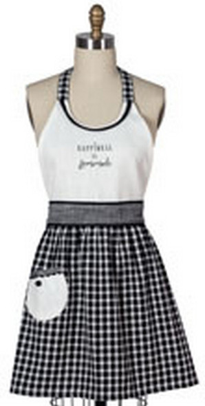 You can't go wrong with classic gingham and linen-like texture for a farmhouse feel! This adorable apron features raised trim, gingham skirt with contrasting pocket and button detail, and center embroidery. 20 in x 30.5 in, 100% cotton.