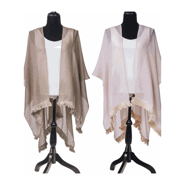 """Pretty shawl is perfect weight for spring in soft feminine colors. Choose from a light peachy pink or versatile taupe. 65% Polyester Woven/35% Viscose Dimensions: 63"""" W. x 43"""" H."""