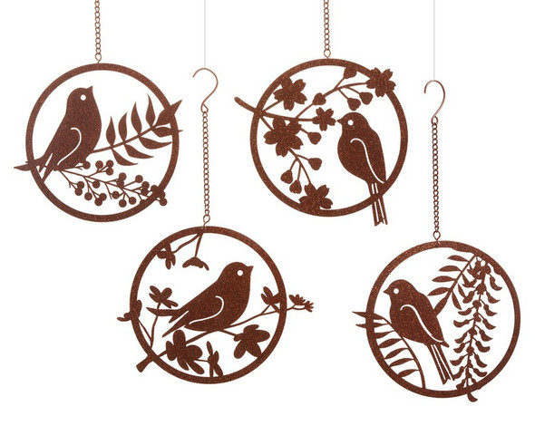 Renew the look of any room with this round wall Decor featuring cut-out design of a bird and leaves. Customer receives one of four different bird designs. Wrought Iron.  Dimensions: 6.69x0.2x12.2(in)