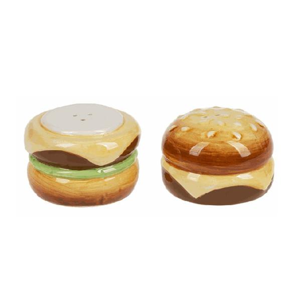 "Hamburger Salt & Pepper Shakers. Dimensions: 21/2"" W. x 21/2"" D. x 3"" H."