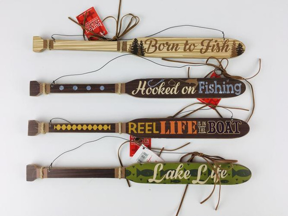 """Your choice of 4 different sayings: """"Reel Life is in the Boat,"""" """"Lake Life,"""" """"Born to Fish,"""" and """"Hooked on Fishing."""""""