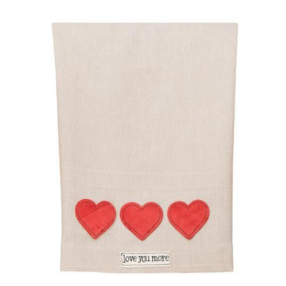 """This beautiful """"Love You More"""" tea towel will compliment any kitchen and speaks your heart while doing so! Made in a fair trade factory."""