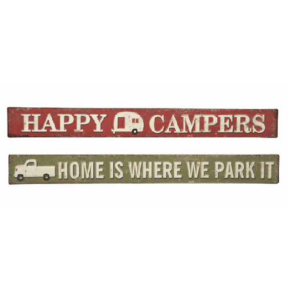 """Camping Sign - Home Is Where We Park It - Trailer Camper Sign. Dimensions: 18"""" L. x 2"""" H.  Sold individually."""