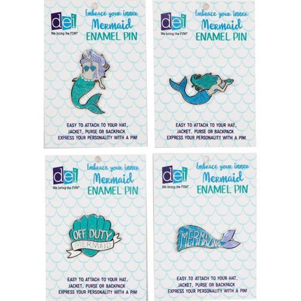 Mermaid Enamel Pin PDQ Express your personality with these colorful mermaid enamel pins! Clip them on a jacket or bag. Zinc pin features assorted mermaid glitter designs. 4 assorted styles. Packed 24 pieces to a PDQ displayer.