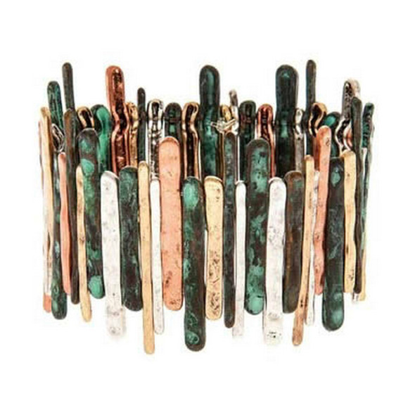 Copper, Gold, Patina and Silver Textured Bars Bracelet