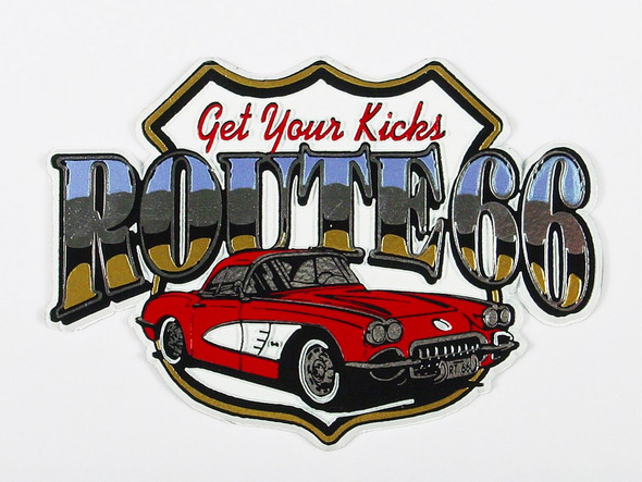 "Get your kicks Route 66 magnet features a red 1960's Corvette. About 4"" wide"