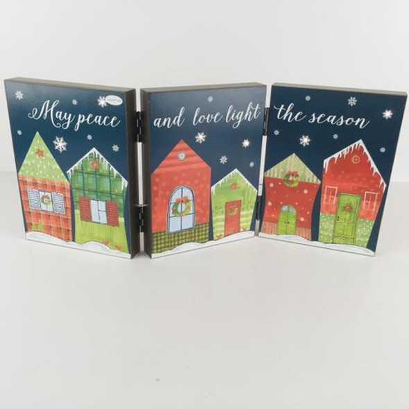 """Box sign with LED lights  christmas houses """"May peace and love light the season""""  opens to 8 x 18. Folds to close 6x 8 x 3.5"""