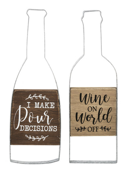 """A great gift for the amateur sommelier or that friend who starts calming their nerves with some merlot before noon. Choose """"I make 'pour' decisions"""" on dark wood, or """"Wine on world off"""" on light wood. Both framed with a wine bottle shaped metal border. Perfect wall decor for kitchen or the """"She shed."""""""