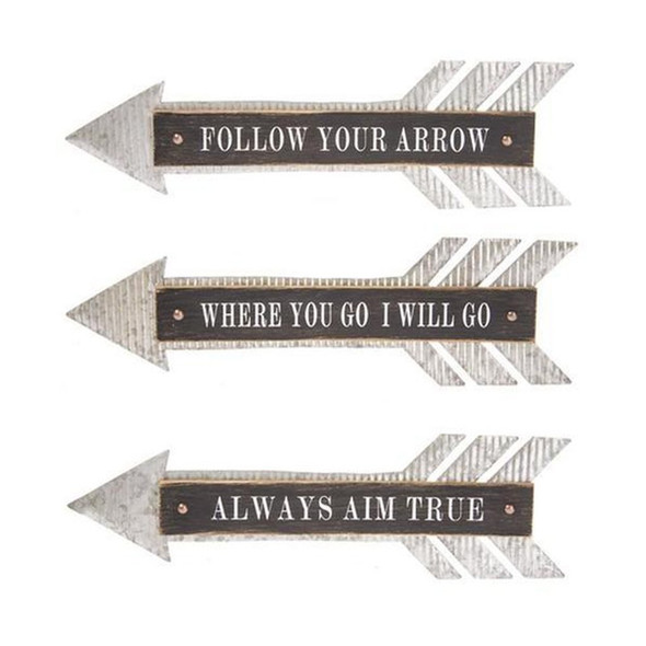 "This metal arrow mounted on distressed wood frame is sure to look good in any home or ranch.  Three assorted designs.  Sold individually.  Measures 23.62""x 2.36"" x 4.45"""