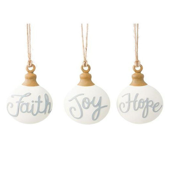 """Flat round ornaments with a single word on each, slightly raised and written in gray: Faith, Joy, and Hope. Top of ornaments are brown with a brown twine hanger.  Sold individually. Made of resin and hand painted. 4 1/4"""" H x 3"""" W x 1"""" D. 7 3/4"""" hanging."""