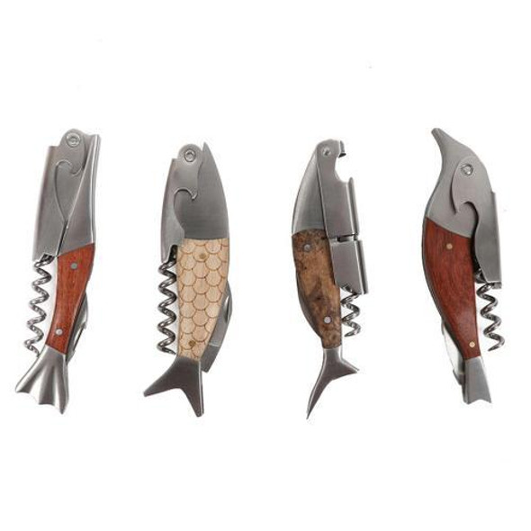 Fish Two in One Bottle Opener/Corkscrew Add a touch of coastal style to your barware with this fish bottle opener and corkscrew! Stainless steel opener features wood fish design with corkscrew. Packed in an acetate box. 4 assorted styles.  Sold individually.