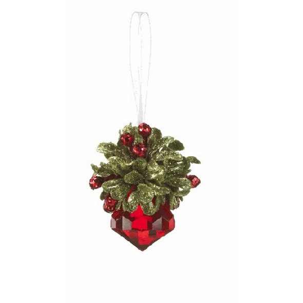 "Ornament, Red Jewel Dimensions: 21/2"" H. Red mistletoe on the top of the crystal. White ribbon for hanging on the tree."
