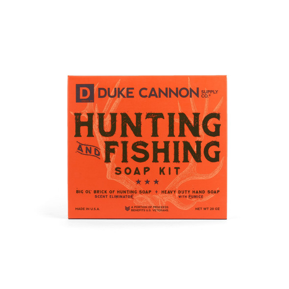 The hunting and Fishing Soap Kit is not for the man who hunts squirrels or fishes for sunnies. These hefty 10 oz bricks of soap are for the outdoorsman who takes his leisure seriously. The Big 'Ol Brick of Hunting Soap has a unique scent eliminating formula that captures odors, smothers them, and prevents their release because getting winded isn't an option. Won't dry you out either. The Heavy Duty Hand Soap is made with superior grade pumice and works hard to remove dirt, grease, guts, and fish odor from a man's hands Perfect for the shop, cleaning station, or kitchen sink.