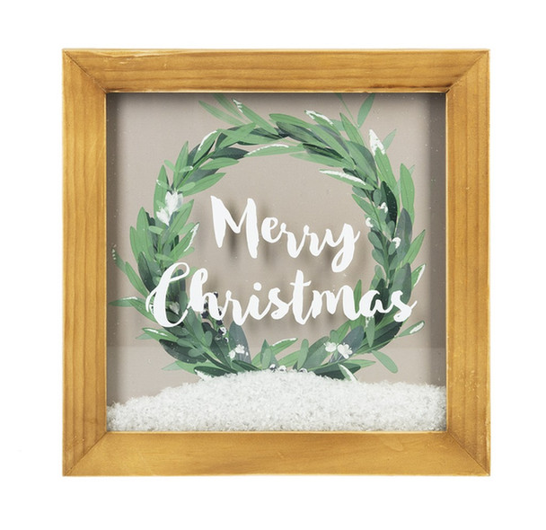"""Merry Christmas Shadow Box with Faux Snow w/ artificial snow fill   10""""square x 1"""" deep"""
