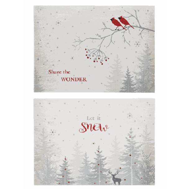 """Dimensions: 10"""" W. x 14"""" L. x 13/4"""" D. Choose either """"Share the Wonder"""" with cardinal design, or """"Let it Snow"""" with deer. Battery Details: Requires 2 'AAA' batteries."""