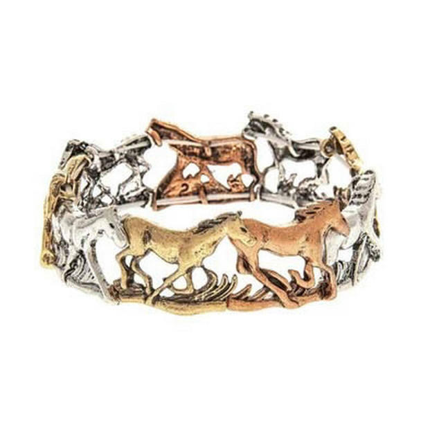 Copper, Gold and Silver Galloping Horses Link Bracelet