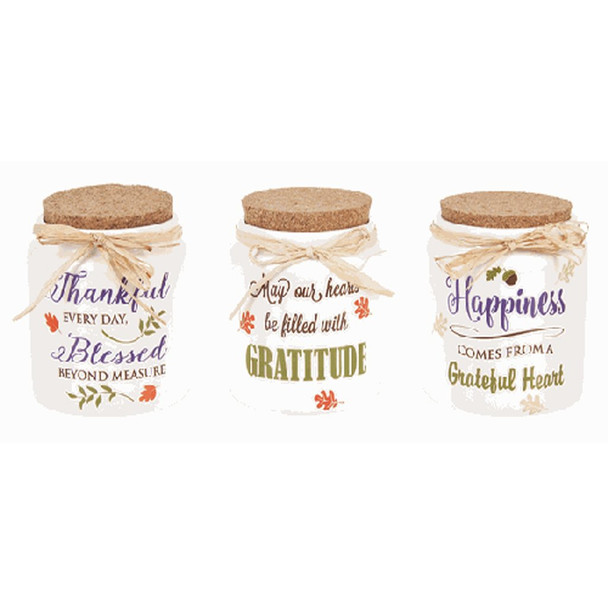 """Fall Blessings Jars Handwash only. Not intended for use with food.  Sold individually.  Dimensions: 4"""" Dia. x 41/2"""" H."""