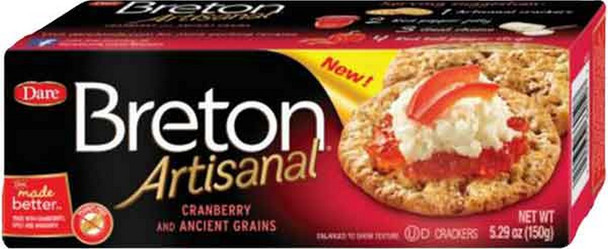Enjoy the tender, crisp texture and delicious taste of Breton Artisanal, now made with ancient grains like spelt and amaranth. With pieces of cranberry baked right in they are ideal on their own or as part of the perfect appetizer or snack. Your family and friends will love the real ingredients and premium inclusions!