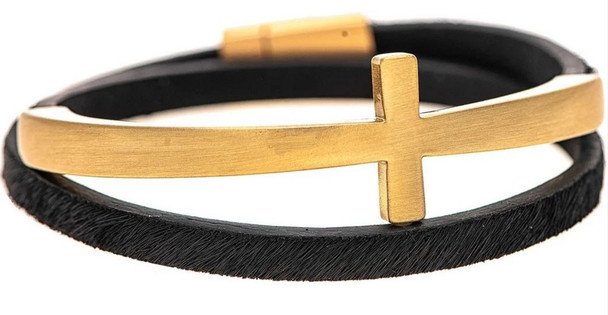 Brushed Gold Curved Cross Black Leather Bands Wrap Style Magnetic Closure Bracelet