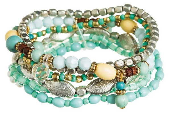 Blue, Gold, Ivory and Silver Mixed Bead Clear Crystal 7 Piece Bracelet Set