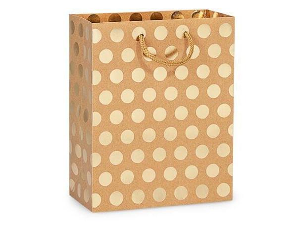 "Gold Polka Dots on Kraft Gift Bags, Cub 8x4x10"""