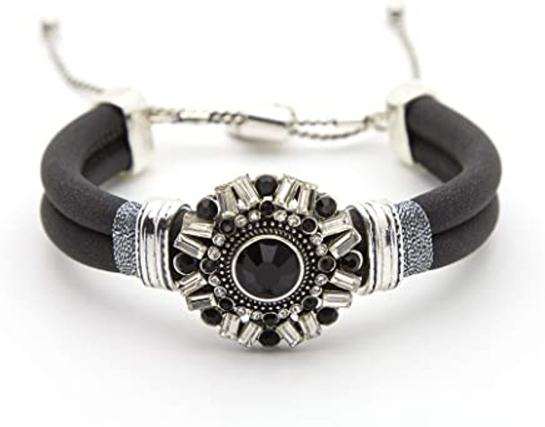 Medallion Bracelet Black Band Rhinestones Marcasite