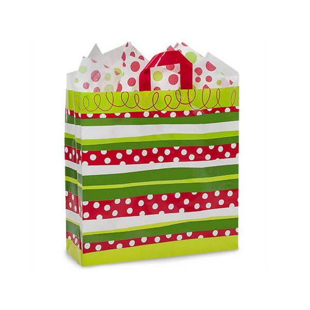 Celebration Stripe Plastic Gift Bags Queen Size