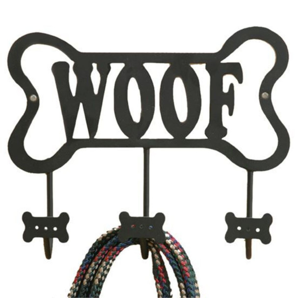 Stay organized with this adorable dog wall hook! Dog bone metal wall hook features 'Woof' sentiment and 3 hooks. Easy to mount.