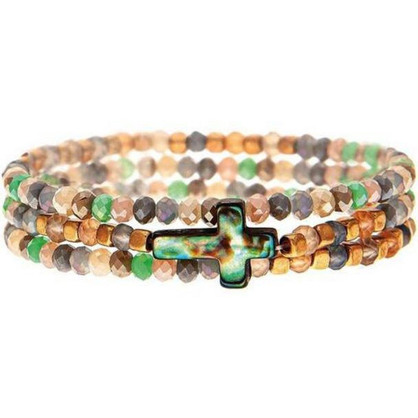 Bead Abalone Cross Bracelet