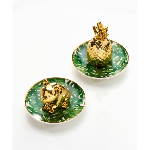 Place loose rings in this green leaf plate with gold details. 2 Assorted Designs: Pineapple, Panda. Porcelain.