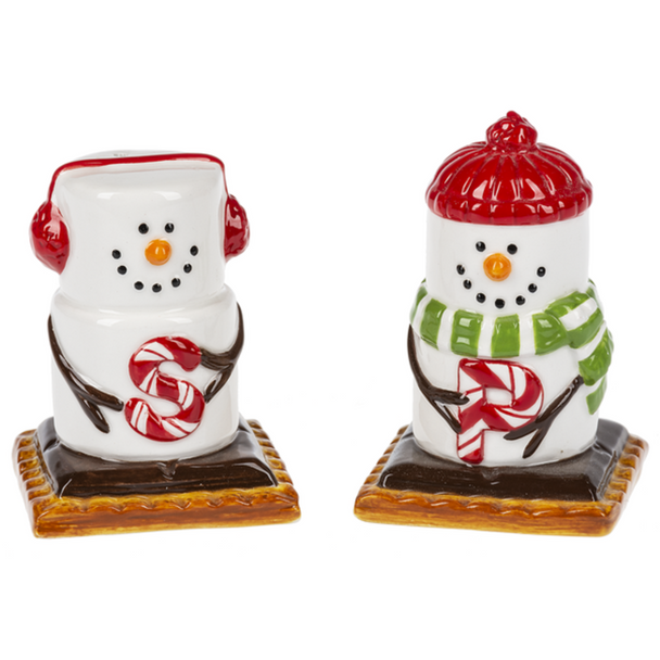 """Adorable collectible marshmallow S'more snowmen characters all dressed up for your winter table! """"Salt"""" has earmuffs and """"Pepper"""" sports a scarf and hat. Ceramic. 2"""" W. x 2"""" D. x 2 7/8"""" H."""