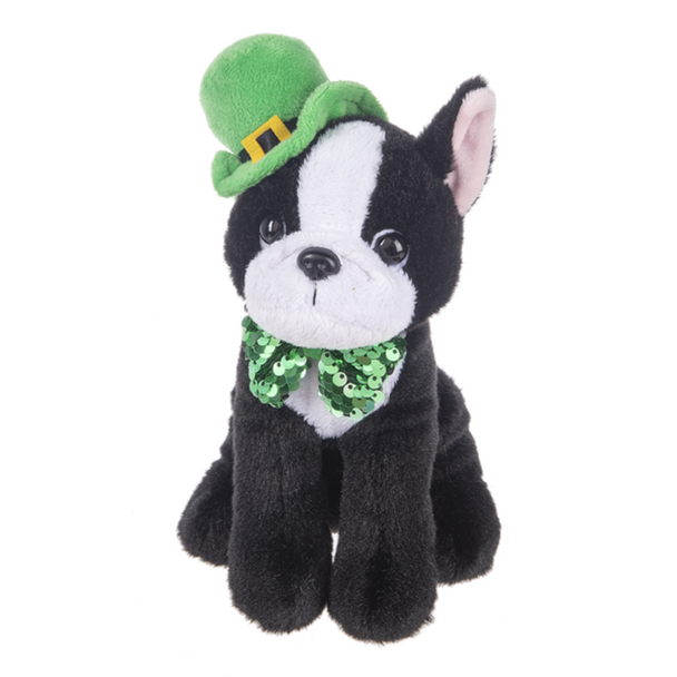 """You will love this little bug-eyed guy- plushie bulldog sports a green bowler hat with a gold buckle and a dandy sequined bow tie! Unique gift for anyone who loves bulldogs, Frenchies, Boston Terriers, or St.Patrick's Day! Stands 9.5"""" tall. Not for children under 3."""