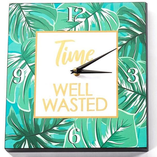 Time Well Wasted leaf print clock.