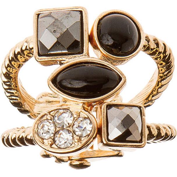 Gold Multi Crystal Hinged Ring