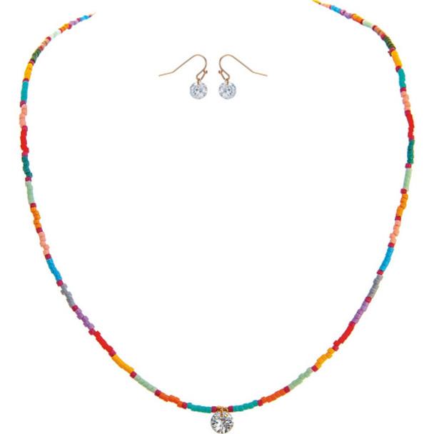 Gold Multicolored Tube Bead Cubic Zirconia Drop Earrings Set