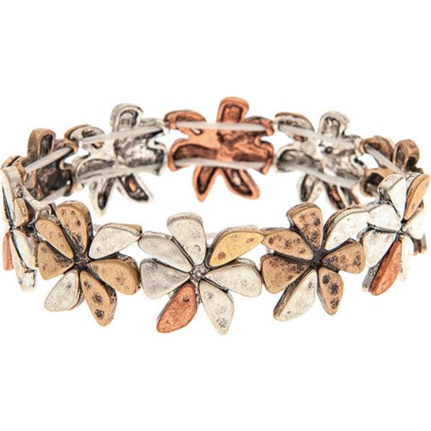 Multi Metal Chunky Abstract Flower Bracelet