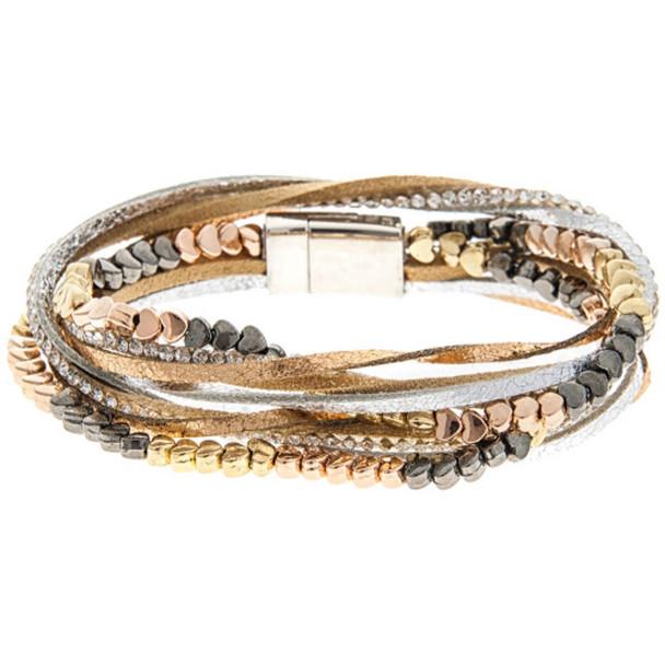Multimetal Mixed Bead multiple Strand Magnetic Bracelet