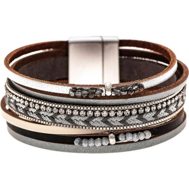 Silver Gray Glass Bead Magnetic Multistrand Bracelet