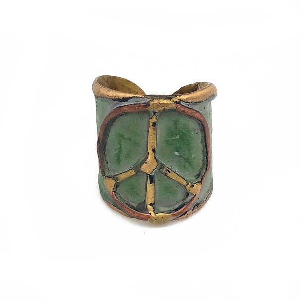 Brass Patina cuff peace sign ring