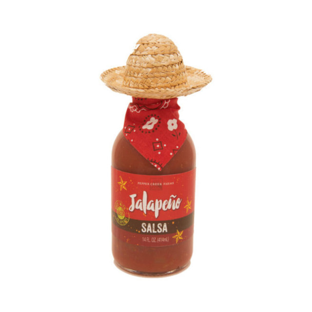 Jalapeno salsa made right in Oklahoma with seeded jalapenos so the flavor is rich but the heat is mild. All dressed up in sombrero and scarf!