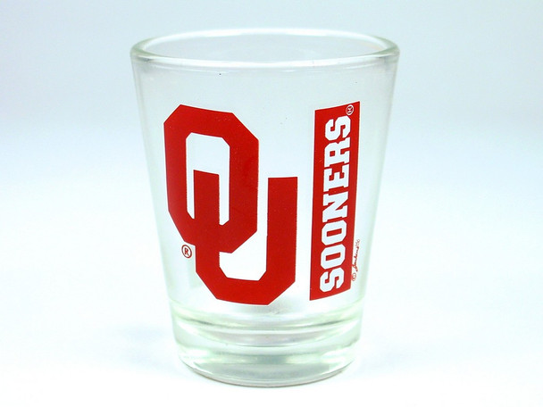 Shot glass with Oklahoma Sooners logo