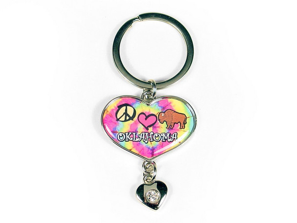OK Heart Key Ring With Dangling Rhinestone