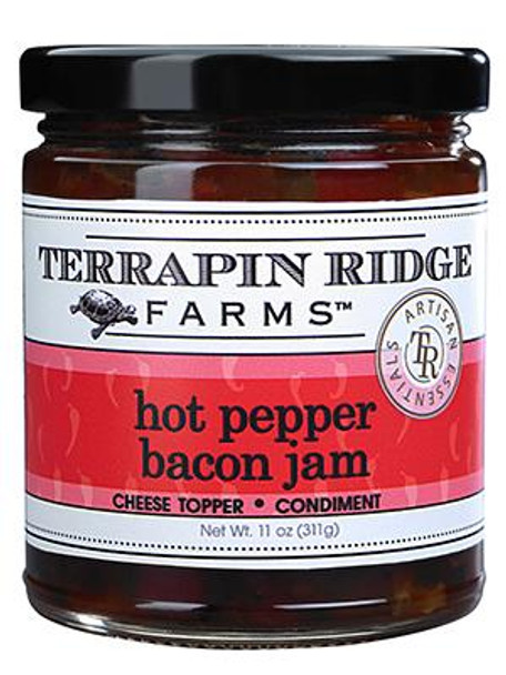 Roasted red bell pepper and real bacon combine to create an addictive jam. For a quick appetizer, pour over cream cheese and serve with crackers. Use straight out of the jar as a dip. Pairs perfectly with strong cheeses. Delicious served with grilled fish and chicken or as a condiment on a sandwich, wrap, or panini. Gluten free!