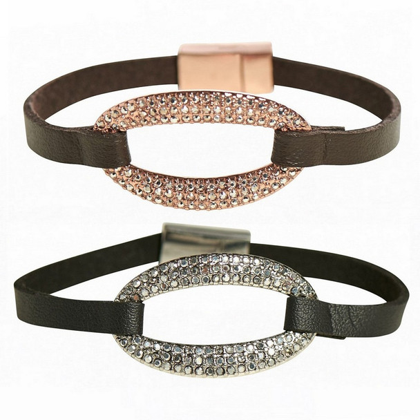 Assorted pave halo magnetic bracelets come in one of two assorted colors.  Sold individually.