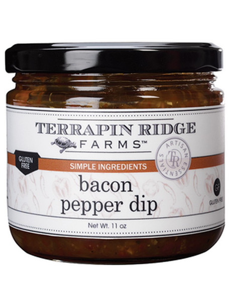 Real bacon, red pepper puree and roasted tomatoes meld together to create a truly addictive dip.  Perfect out of the jar with chips or pour over cream cheese for an easy appetizer.  Add to sandwiches, burgers and brats.  Mouthwatering accompaniment to grilled chicken and fish.    Gluten Free.   Dairy Free.  Simple Ingredients * Intense Flavors