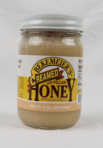 Grand Pa's Spun Honey with Pecans spreads smooth like butter with no drips or dribbles. Made in Oklahoma!